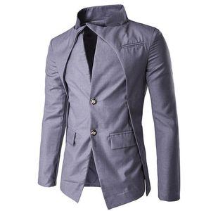 Wholesale- Blazer Men 2017 New Asymmetric Metal Buckle Design Fashion Casual Slim Fit Suit Terno Wedding Suits For Men Evening Dress Coat