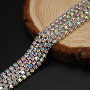 10 Meter Crystal AB Siver Plated Rhinestone Chain Trims Cup Chain Jewelry Crafts DIY 2mm 2.5mm 2.8mm 3.0mm
