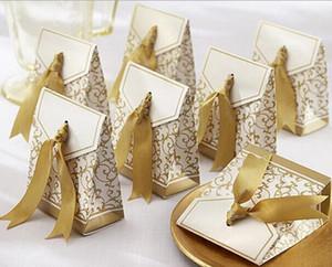 50 pcs Presente Da Fita De Ouro Sacos De Papel de Noivado Aniversário Festa de Casamento Bolo caixa de doces Favor Caixas de Presente decoração de casamento