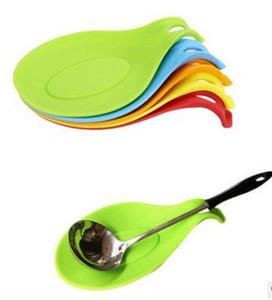 Atacado 600 pçs / lote Kitchen Resistente Ao Calor Silicone Spoon Rest Utensílio Espátula Titular Ferramenta Da Cozinha