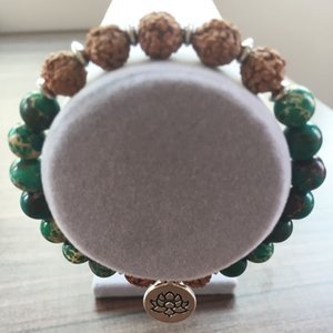 Natural Stone Green Regalite Bracelet Fashion Mala Beads Bracelet For Women Bodhi Bracelets Lotus Bracelets Yoga Prayer Lotus Pendant