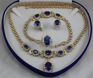 women's jewelry aquamarine yellow gold Earring Bracelet Necklace Ring +box