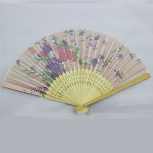 Fans plegables Flower Impresión de flores Diseño de mano Bambú Plegable Fans Festival Eventos Suministros Regalos de boda Favors Favores Artesanías