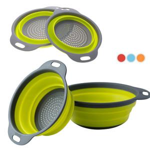 2 teile / los Faltbare Silikon Colander Klapp Küche Silikon Sieb