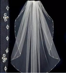2019 einfache maßgefertigte weiß / elfenbein Sheer Hochzeitsschleier Tüll Perlen EAGE Bridal-Schleier mit Kamm One Layer Hochzeitszubehör