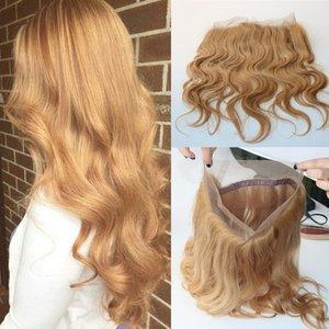 Honey Blonde 27 # 360 Bande Complète Dentelle Frontale 22.5 * 4 * 2 Brésilienne Cheveux Vierges 360 Degrés Dentelle Frontale Fermetures Suisse Dentelle Body Wave