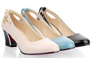 2017 Wholesale-Red bottom heels Schuhe damenmode Sole niedrigen ferse pumpt chunky heels damen schuhe Große