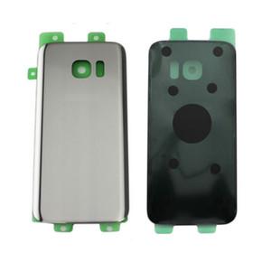 10 adet / grup Orijinal Yeni Cam Pil Kapı Arka Kapak Konut + Yapıştırıcı Sticker Için Samsung Galaxy S7 G930 SM-G930F Logo ile Yedek