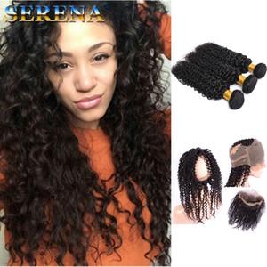360 Lace Frontal Mit Bundles Mongolian Deep Wave Curly Hair webt mit Pre-Gezupftem 360-Verschluss Human Curly Frontal Black Hair Extensions