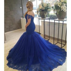 Sexy Blue Mermaid Prom Dress Chérie Long Appliqued Tulle Formelle Robe De Soirée Sur Mesure Plus