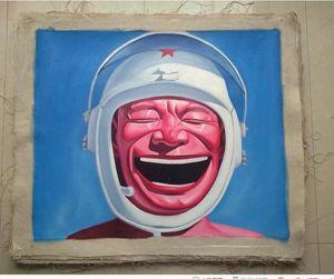 Encadré visage souriant # 002, peinture à l'huile pure Handcraft Portrait art sur toile de haute qualité pour la décoration murale dans Multi tailles