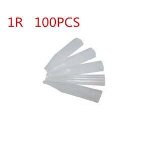 Wholesale-100 pieces 1r round Permanent Makeup Tattoo Tips Pre-sterilized Disposable machine side hole needle tips Supply Free Shipping