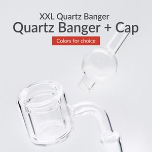 XXL Thermal Quartz Banger + Sphere Cap Double Layer Quartz with 10   14   18mm Male   Female Clear Joint