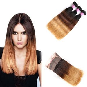 Ombre # 1B 4 27 paquetes de cabello liso sedoso rubio miel con banda de encaje completo pre desplumado 360 frontal 4pcs / lot