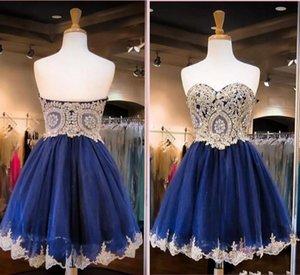 2017 Azul marino Mini Vestidos de Fiesta Cortos Amor de Oro Apliques Cortos Vestidos de Cóctel Fiesta Formal Vestidos de Graduación Dulce 16