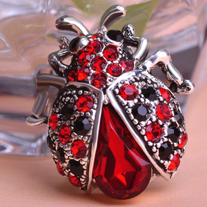 Wholesale- Anti Silver Plated Red Rhinestone Insect Brooch Broches Hijab Scarf Pins Up Brooch Bouquet Esmalte De Unhas Bijoux For Women