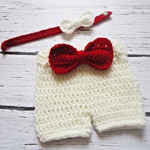 Küçük Beyefendi Bebek Kostüm, El Yapımı Örgü Tığ Bebek Oğlan Kız Şort ve Papyon Kıyafetler, BeyazKırmızı Çocuk Giysileri, Fotoğraf Prop