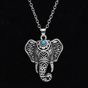 Bohemio étnico azul piedra elefante colgante collar Vintage mujeres declaración joyería collar para mujeres envío gratis