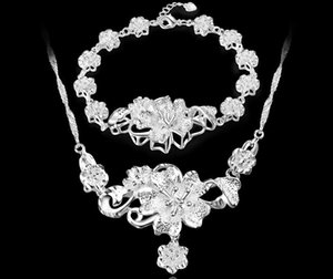 2017 Новая мода Марк 925 гальванопокрытия 3D FLOWER ожерелье Браслет женщины свадьба Роза браслет ожерелье набор ювелирных изделий