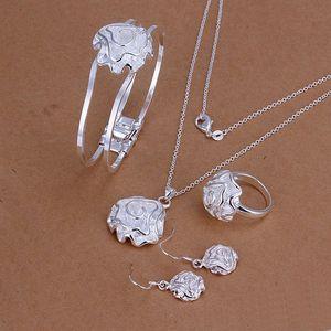 Свадебные розы стерлинговые серебристые ювелирные изделия для женщин ES243, мода 925 серебряное ожерелье браслет сережки кольцо