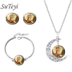 Cristal de moda set Dome Jewelry Silver Glass Fox pendiente pulsera Collar Woodland Creature Acuarela Arte colgante set joyería