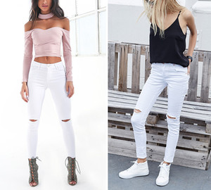 2017022537 Summer style hoyo blanco rasgado jeans Jeggings mujer fresco denim cintura alta pantalones capris Female flaco negro jeans casuales