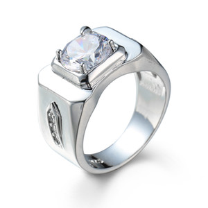 Deluxe Men's Jewelry Clear CZ White Gold Filled Engagement Wedding Party Finger Ring Gift