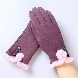 Toptan Satış - Toptan - Feitong Moda Bayan Kış 3 Düğme Dokunmatik Ekran Eldiven Kadın Dışında Egzersiz Sıcak Eldiven Eldivenler Eldivenler Kaşmir