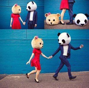 2018 Usine vente directe Accessoire Panda Ours En Peluche Têtes Costume Mascotte de Bande Dessinée pour Amant