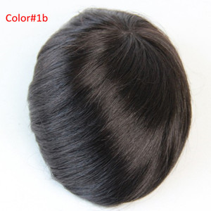 mono lace 7X9 Men's toupee human hair replacement Indian hair toupee for men 7x9inch #1B Color no shedding no tangle For men wig