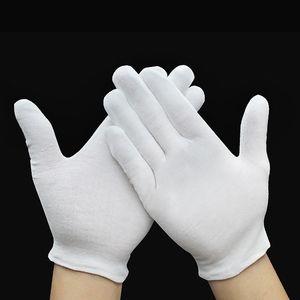 12pairs weiße Zeremonialhandschuhe 100% Baumwolle für männliche weibliche Umhüllung / Fahrer Handschuhe dünne Etikette-Handschuhe, die für den Sommer groß sind, der im Hotel arbeitet