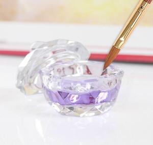 مسمار فن أكريليك كريستال زجاج Dappen صحن كأس الكأس مع غطاء السائل بريق مسحوق الكافيار الجولة