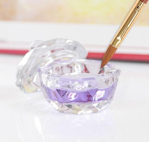Nail Art Akrilik Kristal Cam Dappen Çanak Kase Fincan Kapağı ile Sıvı Glitter Toz Havyar yuvarlak
