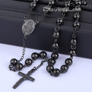 Wholesale- 4/6/8mm Mens Chain Rose Gold Black Tone Stainless Steel Bead Chain Crown Rosary Jesus Christ Cross Pendant Long Necklacce LKN372