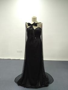 2016 Sexy Black Evening Dresses Real Images Blingbling avec Bowtie Cape Balayage Train Robes de Soirée