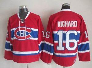 Vintage Montreal Canadiens Henri Richard Hockey Jerseys Mens baratos Início Red # 16 Henri Richard costurado Hóquei Camiseta M-XXXL