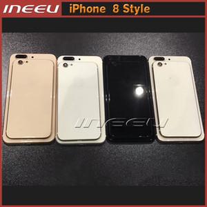 Para iPhone 7 7plus 6 6s 6Plus 6s Plus para iPhone 8 Estilo Cubierta trasera de la carcasa Marco Aluminio Metal Vidrio Reemplazo trasero como iPhone 8 Plus