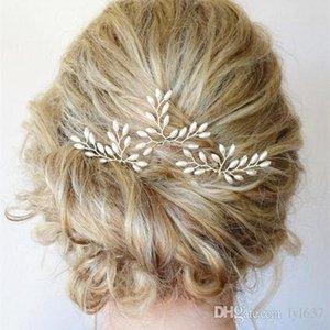 Korean Style Nachahmung Perle Hairwear Silber Farbe Frauen Eisen Legierung Einfache Joker Modeschmuck Wassertropfen Blatt Hairwear Hochzeit Geschenk