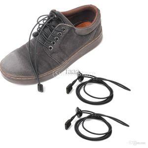 Atacado-New Arrivals 2015 Footful Black Elastic Easy Fastening Shoe Laces Lock Cadarço Trainers Correndo Marat Sports Frete Grátis