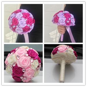 Fuchsia Pink Bouquet da sposa in raso nastro dolce 15 quinceanera mazzi di fiori artificiali strass cristallo con fiori da sposa in cristallo fiori w108