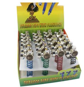 La pipe de cigarette de tabagisme de cigarette de lumière de ressort menée par ressort avec des écrans a coloré des lumières de tabac bon marché Accessoires d'outil de tuyau d'herbe de lampe