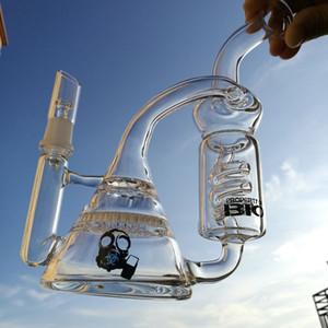 Recycler Dab rigs due bong in vetro a nido d'ape con bocchette di tubo freezable oil rig tubi di acqua in vetro erba secca bong da 8,5 pollici