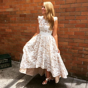 robe de soriee 2017 Bridesmaid Dresses Beautiful High Low Backless Lace Wedding Party Dress Maid of Honor Gowns Custom Made