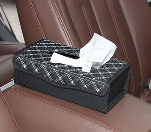 1PC New Folding PU Malha Couro Padrão Household Box Tissue Holder for Home Office and Car C 0005