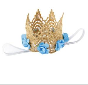 Stile Rose Fiori Gold Crown Crown Fascia per accessori per capelli Baby Gold MINI Lace Crown per fotografia neonato Prop YH547