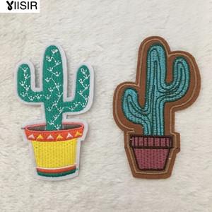 Tessuto Mini Artificiale Cactus Piante Hotfix Motivo Ricamato Vestiti Patch, Cucire, Ferro sul Patch, Abbigliamento Appliques