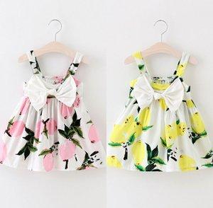 2017 새로운 패션 유아 드레스 소녀 레몬 인쇄 드레스 어린이 Sundress 아기 소녀 옷 바보 드레스 아이 2 색