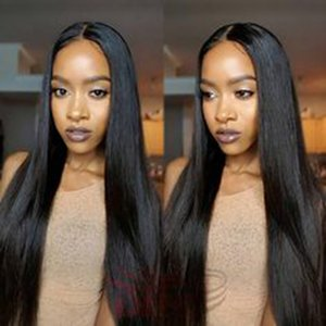 Long Straight brazilian hair African Ameri Simulation human hair long silky straight black full wig with mid part in stock