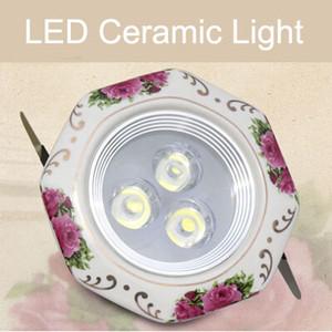 로즈 패턴 세라믹 패널 + 알루미늄 램프 몸 3w 주도 천장 조명 따뜻한 흰색 / 차가운 흰색 AC85-265v