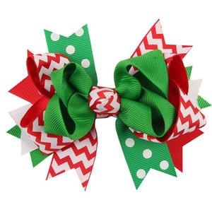 Дети Аксессуары для волос Рождество ребёнков зажимов волос смычка тесемки шпилек X-Mas подарок зебры полосатые Dots цветы дети заколках 12 цветов